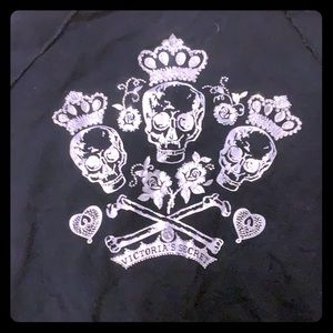 VIctoria Secret black hoodie with rhinestone skull